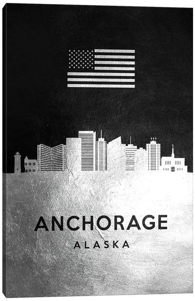 Anchorage Alaska Silver Skyline Canvas Art Print