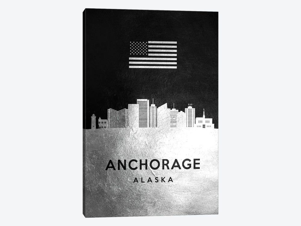 Anchorage Alaska Silver Skyline by Adrian Baldovino 1-piece Canvas Wall Art