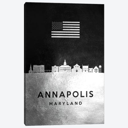 Annapolis Maryland Silver Skyline Canvas Print #ABV775} by Adrian Baldovino Canvas Artwork