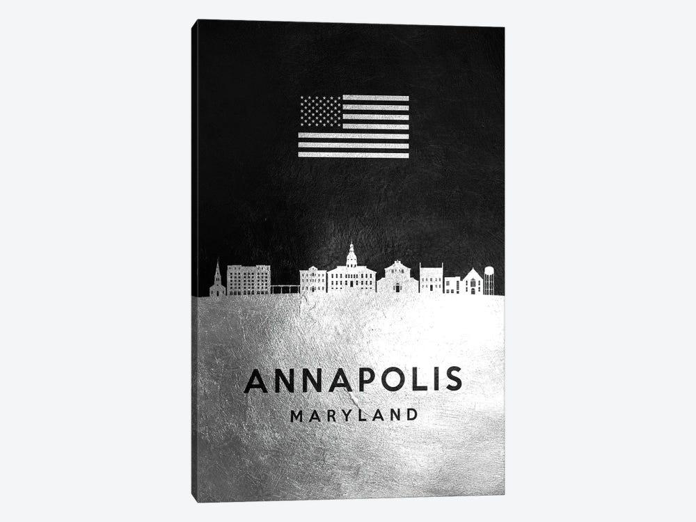 Annapolis Maryland Silver Skyline by Adrian Baldovino 1-piece Canvas Art Print