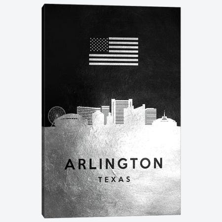 Arlington Texas Silver Skyline Canvas Print #ABV776} by Adrian Baldovino Canvas Artwork