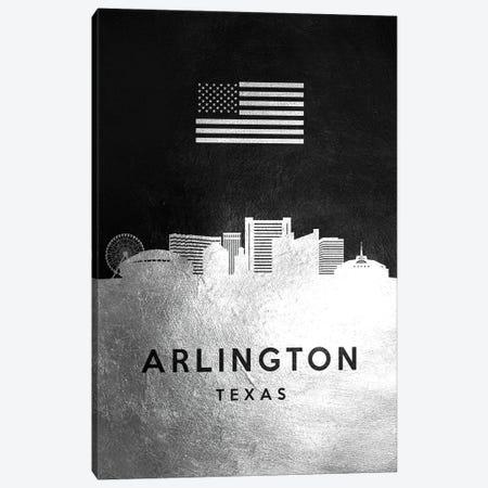 Arlington Texas Silver Skyline Canvas Print #ABV776} by Adrian Baldovino Canvas Artwork
