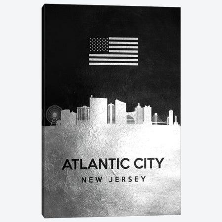 Atlantic City New Jersey Silver Skyline Canvas Print #ABV779} by Adrian Baldovino Canvas Art Print