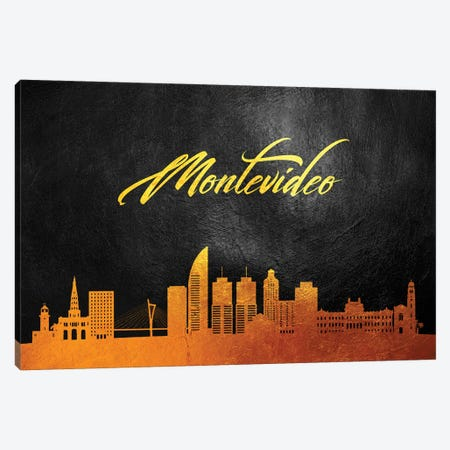 Montevideo Uruguay Gold Skyline Canvas Print #ABV77} by Adrian Baldovino Canvas Artwork