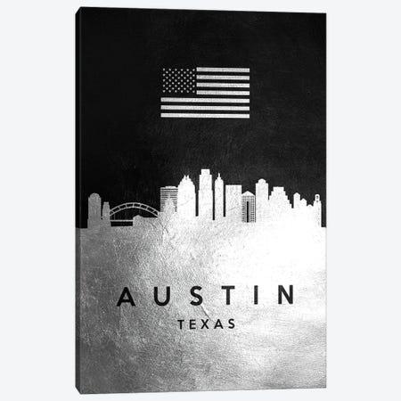 Austin Texas Silver Skyline Canvas Print #ABV780} by Adrian Baldovino Canvas Art