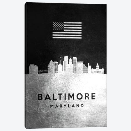 Baltimore Maryland Silver Skyline Canvas Print #ABV781} by Adrian Baldovino Canvas Art