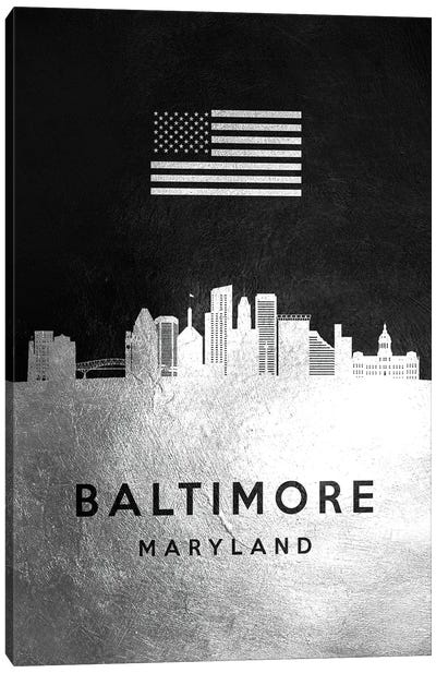 Baltimore Maryland Silver Skyline Canvas Art Print