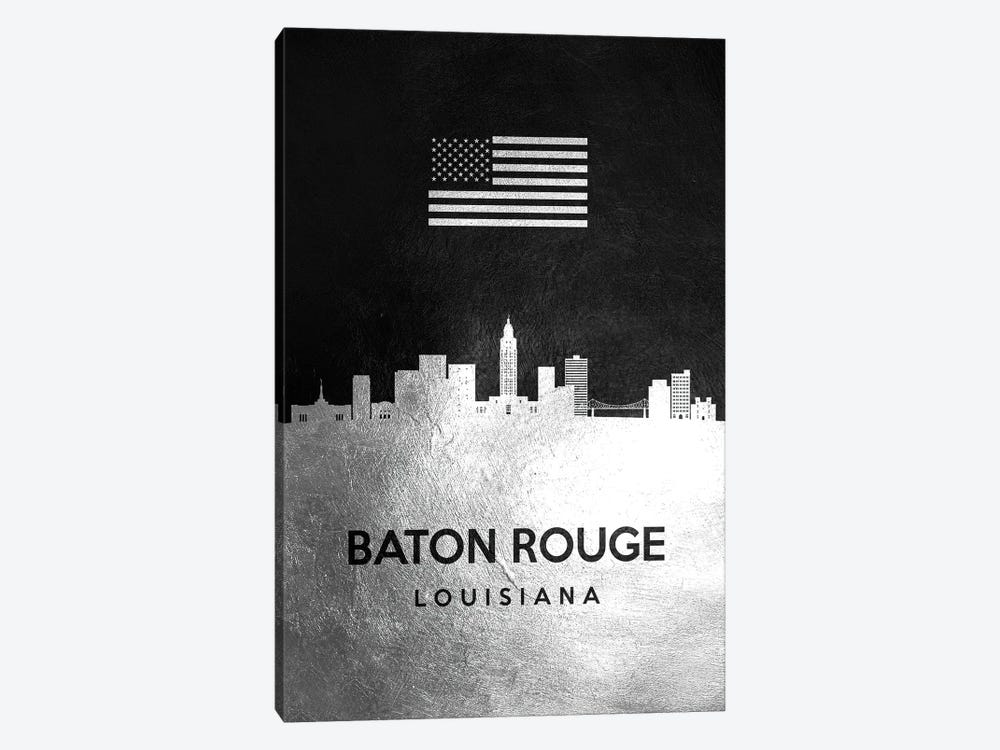 Baton Rouge Louisiana Silver Skyline by Adrian Baldovino 1-piece Art Print