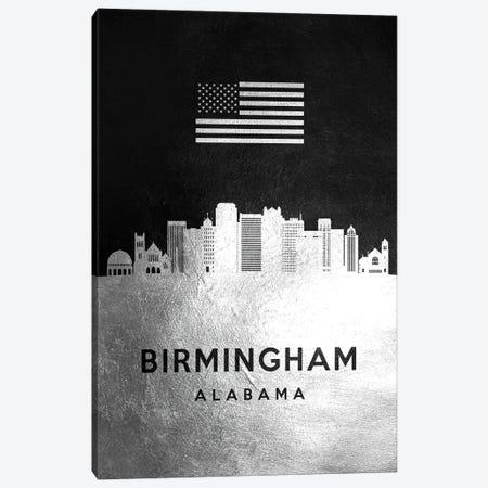 Birmingham Alabama Silver Skyline Canvas Print #ABV783} by Adrian Baldovino Canvas Art