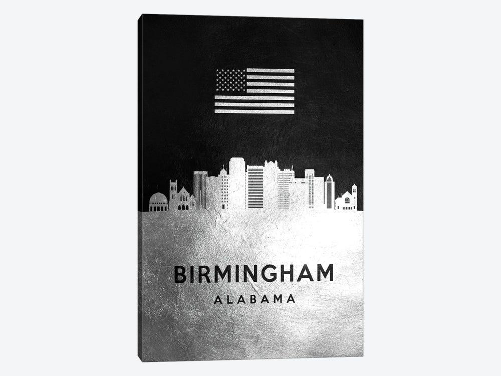 Birmingham Alabama Silver Skyline by Adrian Baldovino 1-piece Canvas Artwork