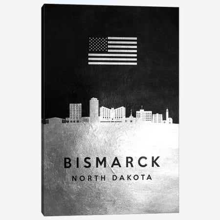 Bismarck North Dakota Silver Skyline Canvas Print #ABV784} by Adrian Baldovino Canvas Art Print