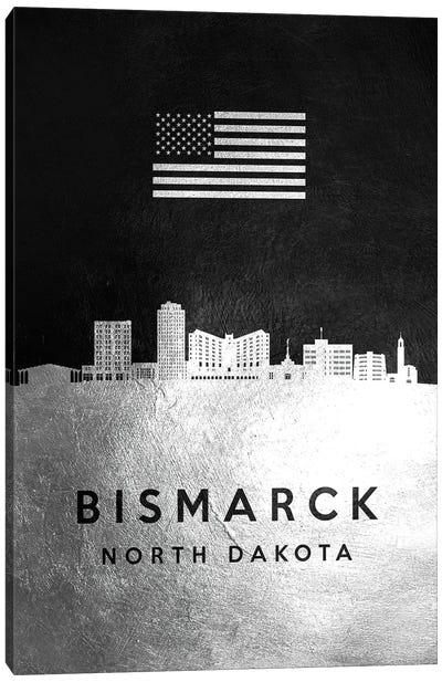 Bismarck North Dakota Silver Skyline Canvas Art Print