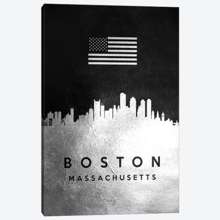 Boston Massachusetts Silver Skyline Canvas Print #ABV786} by Adrian Baldovino Canvas Art Print