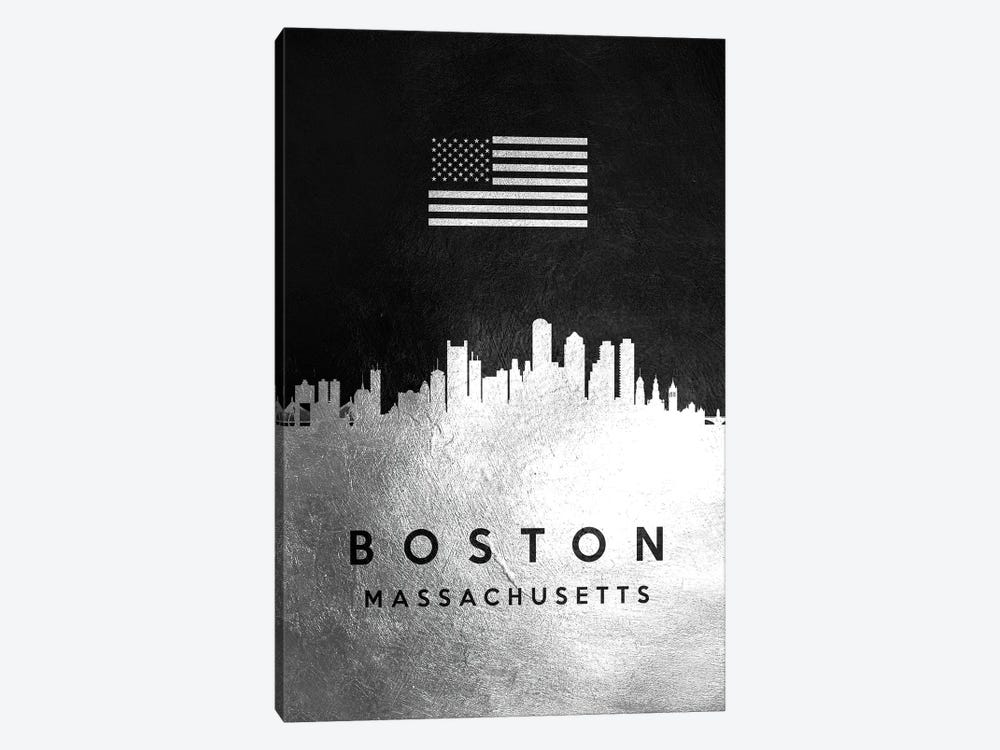 Boston Massachusetts Silver Skyline by Adrian Baldovino 1-piece Canvas Art Print