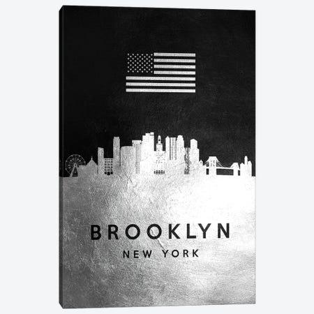 Brooklyn New York Silver Skyline Canvas Print #ABV787} by Adrian Baldovino Art Print