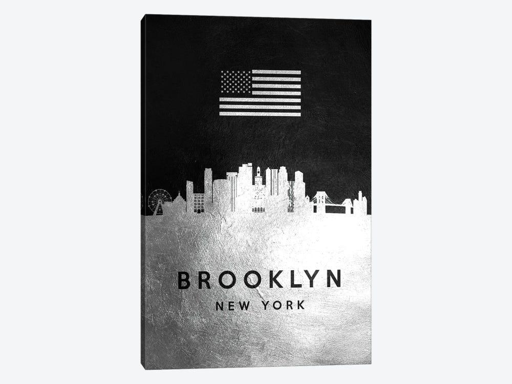 Brooklyn New York Silver Skyline by Adrian Baldovino 1-piece Canvas Artwork