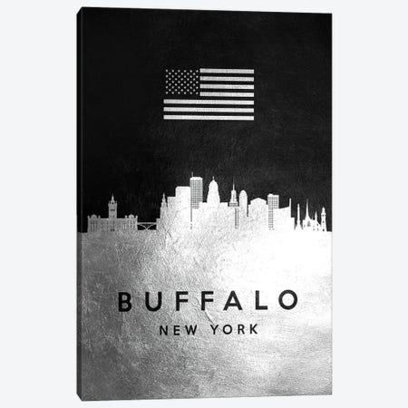 Buffalo New York Silver Skyline Canvas Print #ABV788} by Adrian Baldovino Canvas Wall Art