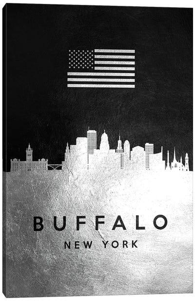 Buffalo New York Silver Skyline Canvas Art Print