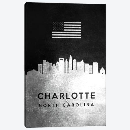 Charlotte North Carolina Silver Skyline II Canvas Print #ABV791} by Adrian Baldovino Art Print
