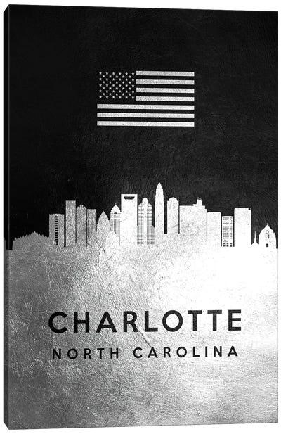 Charlotte North Carolina Silver Skyline II Canvas Art Print