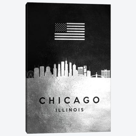 Chicago Illinois Silver Skyline Canvas Print #ABV792} by Adrian Baldovino Art Print