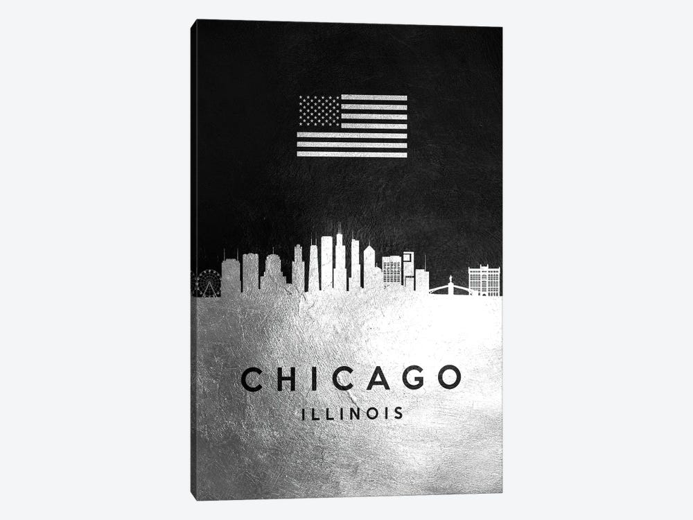 Chicago Illinois Silver Skyline by Adrian Baldovino 1-piece Canvas Art