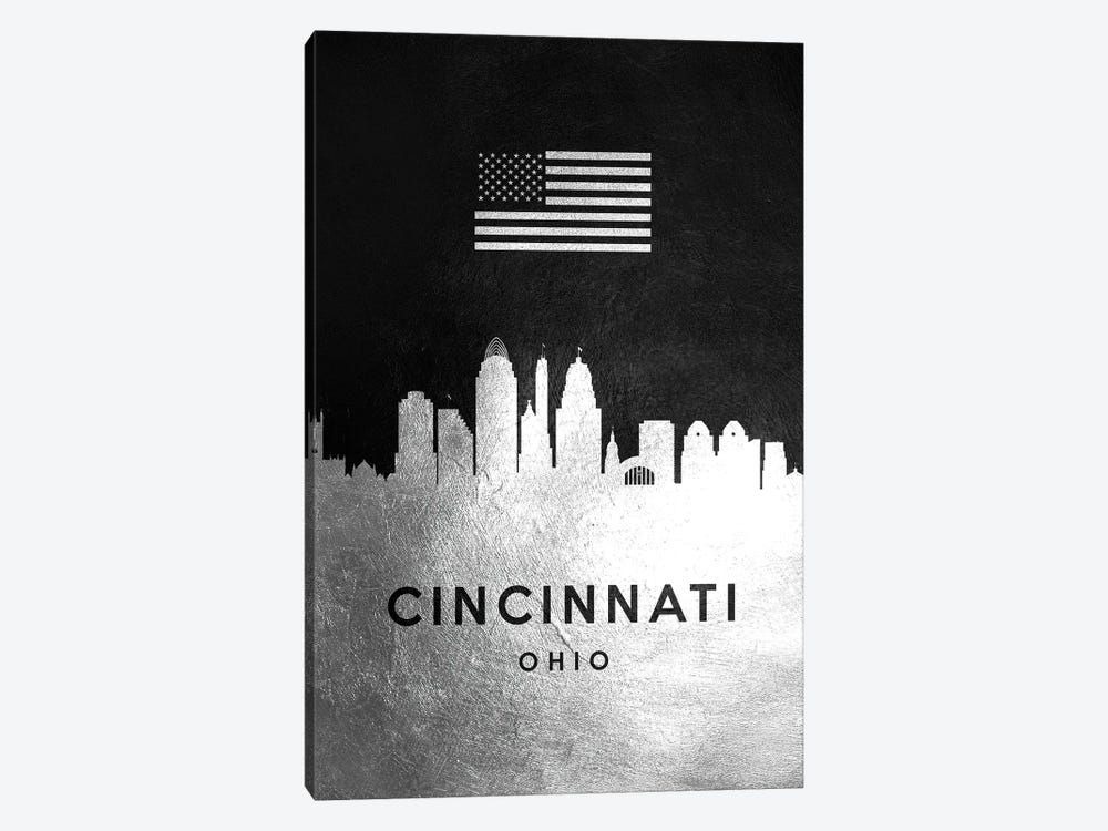 Cincinnati Ohio Silver Skyline by Adrian Baldovino 1-piece Canvas Print