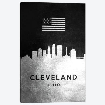 Cleveland Ohio Silver Skyline Canvas Print #ABV794} by Adrian Baldovino Canvas Artwork