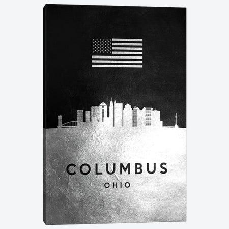 Columbus Ohio Silver Skyline Canvas Print #ABV797} by Adrian Baldovino Canvas Art