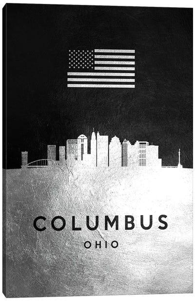 Columbus Ohio Silver Skyline Canvas Art Print