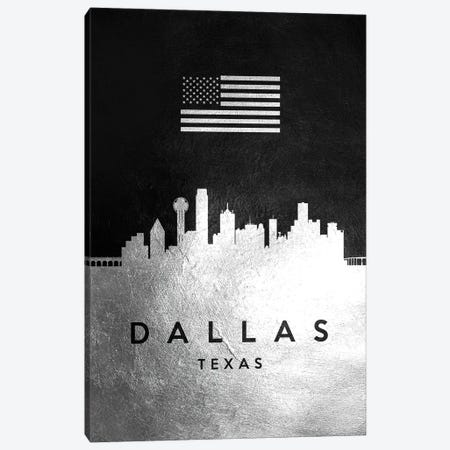 Dallas Texas Silver Skyline Canvas Print #ABV799} by Adrian Baldovino Art Print