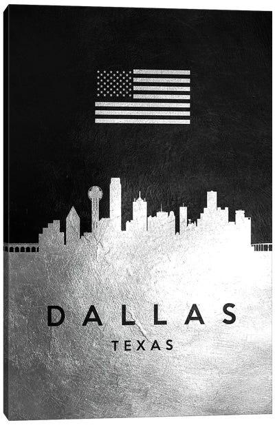Dallas Texas Silver Skyline Canvas Art Print