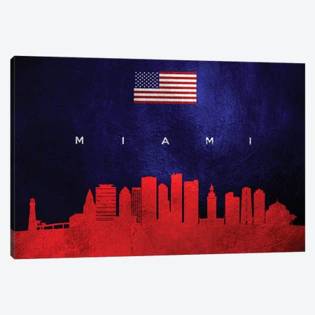 Miami Florida Skyline Canvas Print #ABV79} by Adrian Baldovino Canvas Art Print