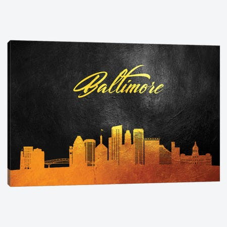 Baltimore Maryland Gold Skyline Canvas Print #ABV7} by Adrian Baldovino Canvas Artwork