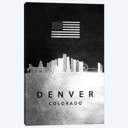 Denver Colorado Silver Skyline Canvas Print #ABV800} by Adrian Baldovino Canvas Print