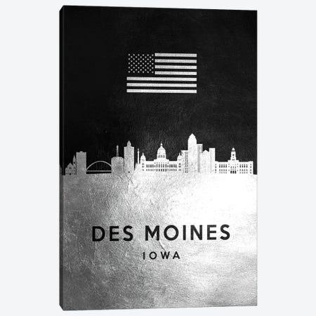 Des Moines Iowa Silver Skyline Canvas Print #ABV801} by Adrian Baldovino Canvas Print