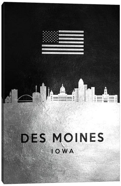 Des Moines Iowa Silver Skyline Canvas Art Print