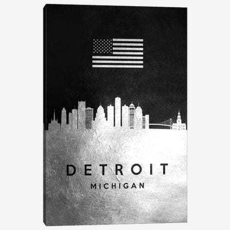 Detroit Michigan Silver Skyline Canvas Print #ABV802} by Adrian Baldovino Canvas Art Print