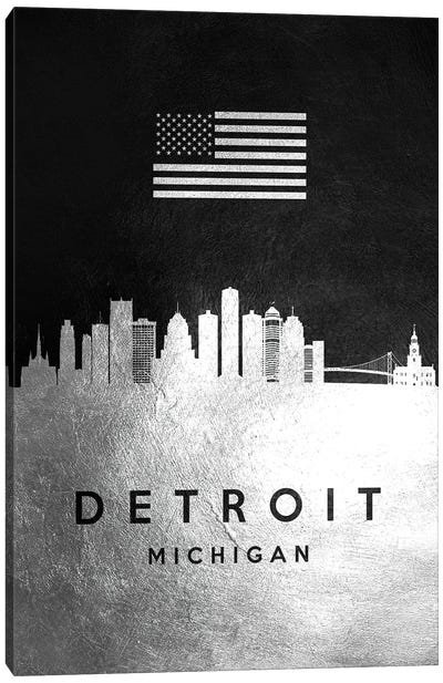 Detroit Michigan Silver Skyline Canvas Art Print