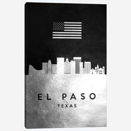 El Paso Texas Silver Skyline Canvas Print #ABV805} by Adrian Baldovino Canvas Wall Art