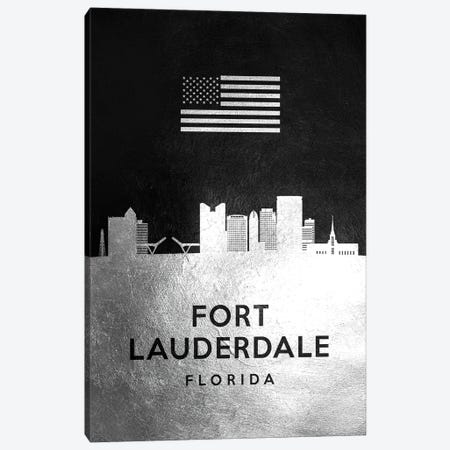 Fort Lauderdale Florida Silver Skyline Canvas Print #ABV806} by Adrian Baldovino Canvas Wall Art