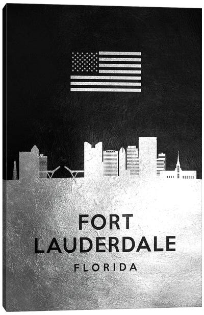 Fort Lauderdale Florida Silver Skyline Canvas Art Print