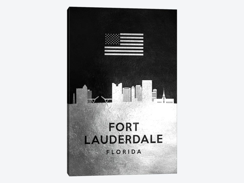 Fort Lauderdale Florida Silver Skyline by Adrian Baldovino 1-piece Art Print