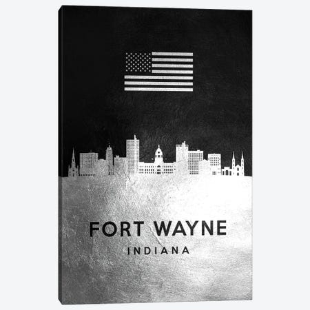 Fort Wayne Indiana Silver Skyline Canvas Print #ABV807} by Adrian Baldovino Canvas Art