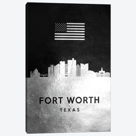 Fort Worth Texas Silver Skyline Canvas Print #ABV808} by Adrian Baldovino Canvas Print