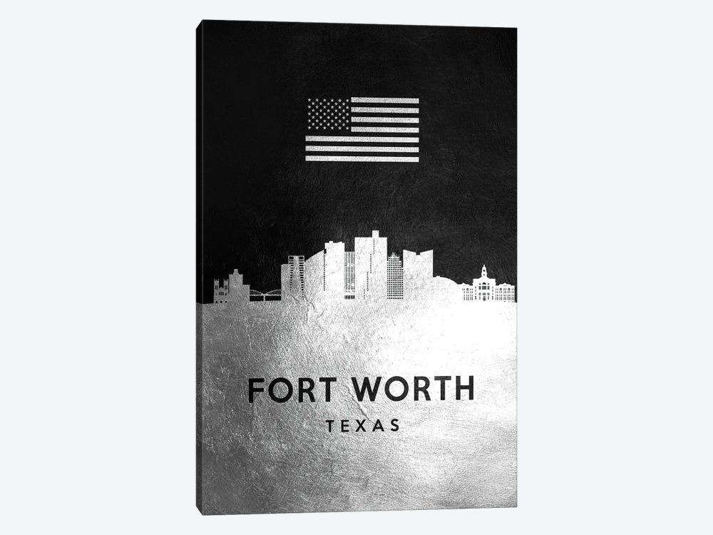 Fort Worth Texas Silver Skyline by Adrian Baldovino 1-piece Canvas Art Print