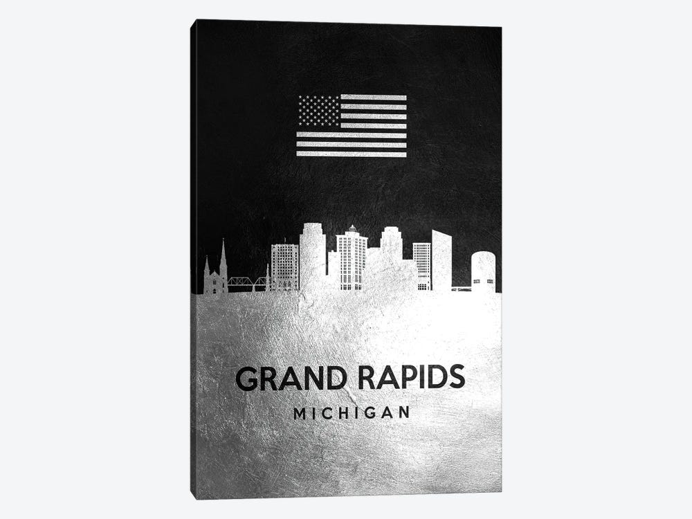 Grand Rapids Michigan Silver Skyline by Adrian Baldovino 1-piece Canvas Artwork