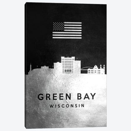 Green Bay Wisconsin Silver Skyline Canvas Print #ABV810} by Adrian Baldovino Canvas Artwork