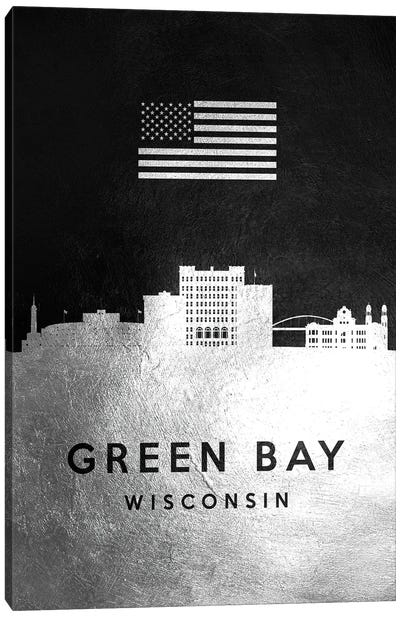 Green Bay Wisconsin Silver Skyline Canvas Art Print