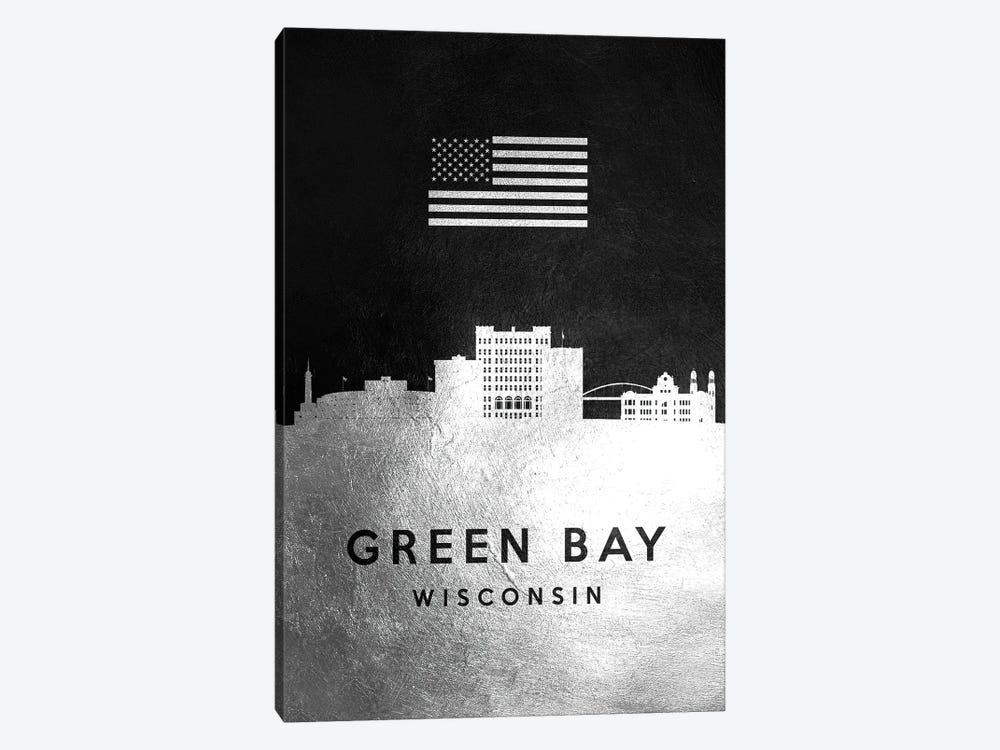 Green Bay Wisconsin Silver Skyline by Adrian Baldovino 1-piece Canvas Wall Art